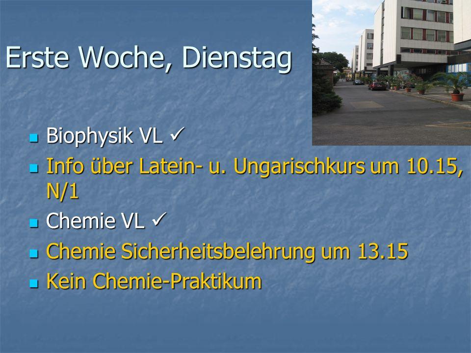 Erste Woche, Dienstag Biophysik VL Biophysik VL Info über Latein- u. Ungarischkurs um 10.15, N/1 Info über Latein- u. Ungarischkurs um 10.15, N/1 Chem