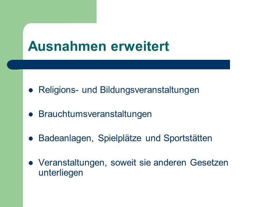 Ausnahmen erweitert Religions- und Bildungsveranstaltungen Brauchtumsveranstaltungen Badeanlagen, Spielplätze und Sportstätten Veranstaltungen, soweit
