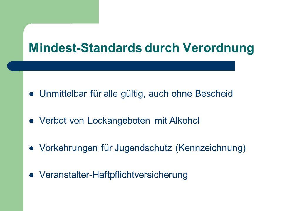 Mindest-Standards durch Verordnung Unmittelbar für alle gültig, auch ohne Bescheid Verbot von Lockangeboten mit Alkohol Vorkehrungen für Jugendschutz