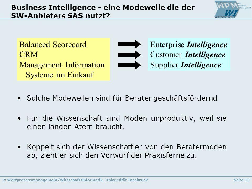 © Wertprozessmanagement/Wirtschaftsinformatik, Universität InnsbruckSeite 15 Business Intelligence - eine Modewelle die der SW-Anbieters SAS nutzt? En