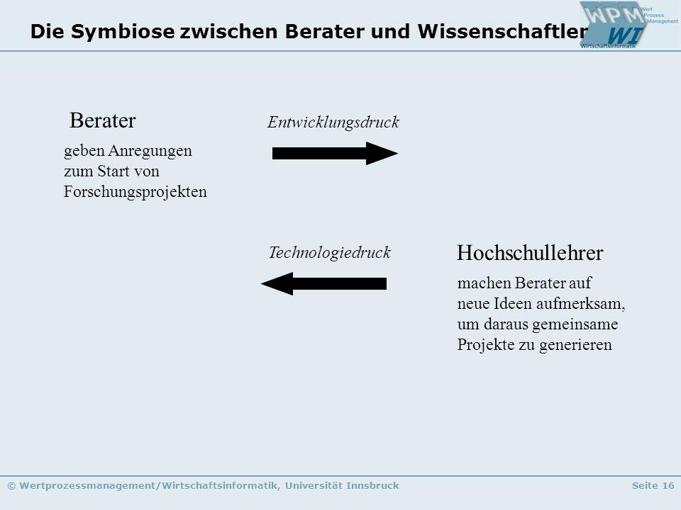 © Wertprozessmanagement/Wirtschaftsinformatik, Universität InnsbruckSeite 16 Die Symbiose zwischen Berater und Wissenschaftler Berater Hochschullehrer