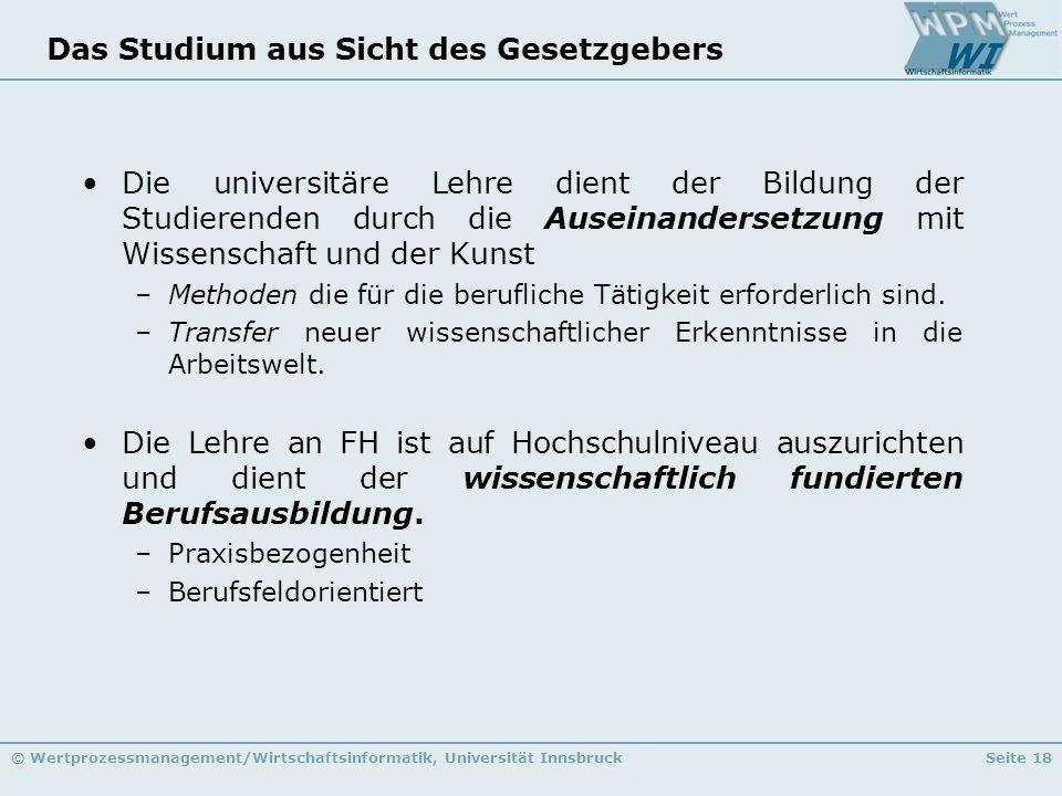 © Wertprozessmanagement/Wirtschaftsinformatik, Universität InnsbruckSeite 18 Das Studium aus Sicht des Gesetzgebers Die universitäre Lehre dient der B