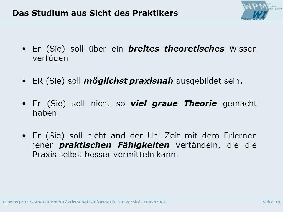 © Wertprozessmanagement/Wirtschaftsinformatik, Universität InnsbruckSeite 19 Das Studium aus Sicht des Praktikers Er (Sie) soll über ein breites theor