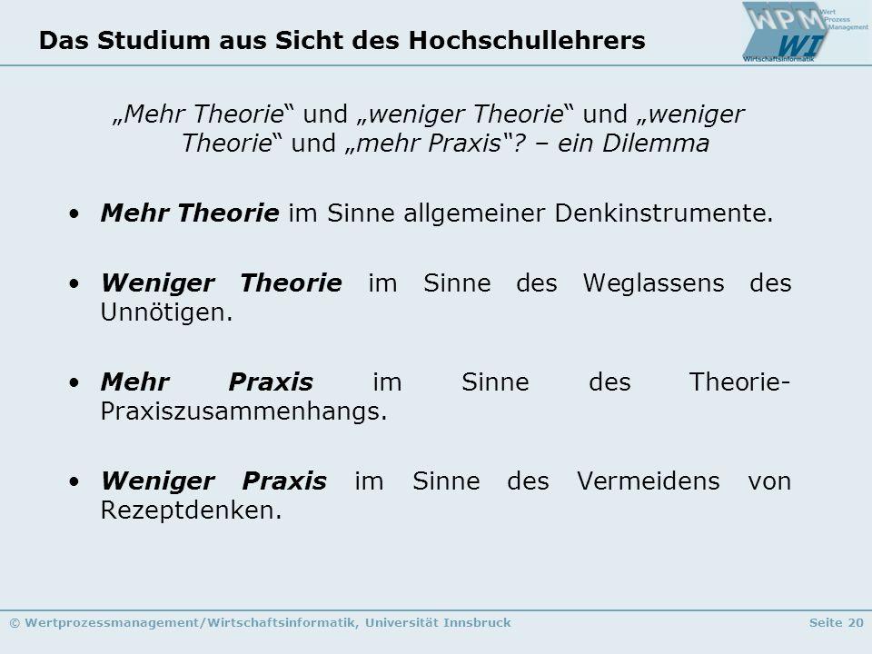© Wertprozessmanagement/Wirtschaftsinformatik, Universität InnsbruckSeite 20 Das Studium aus Sicht des Hochschullehrers Mehr Theorie und weniger Theor