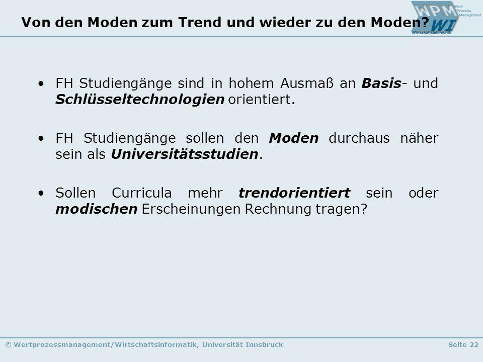 © Wertprozessmanagement/Wirtschaftsinformatik, Universität InnsbruckSeite 22 Von den Moden zum Trend und wieder zu den Moden? FH Studiengänge sind in