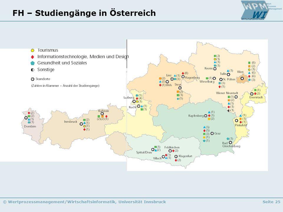 © Wertprozessmanagement/Wirtschaftsinformatik, Universität InnsbruckSeite 25 FH – Studiengänge in Österreich
