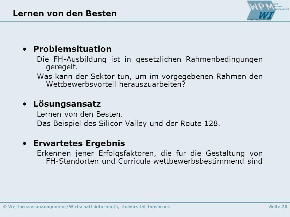 © Wertprozessmanagement/Wirtschaftsinformatik, Universität InnsbruckSeite 28 Lernen von den Besten Problemsituation Die FH-Ausbildung ist in gesetzlic