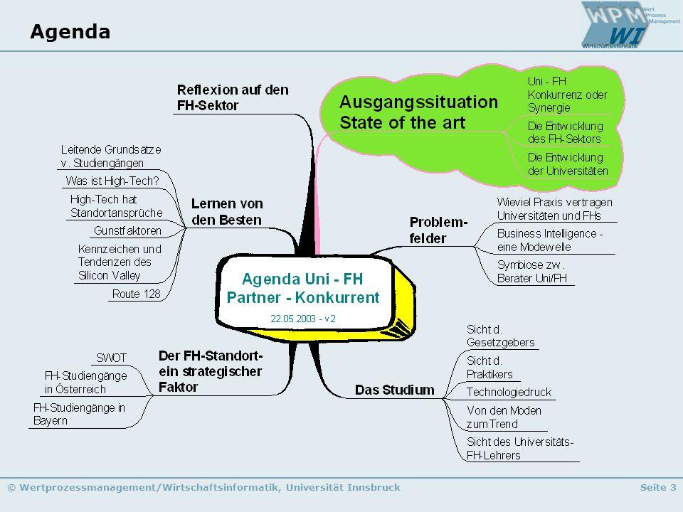 © Wertprozessmanagement/Wirtschaftsinformatik, Universität InnsbruckSeite 3 Agenda