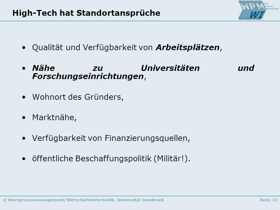 © Wertprozessmanagement/Wirtschaftsinformatik, Universität InnsbruckSeite 31 High-Tech hat Standortansprüche Qualität und Verfügbarkeit von Arbeitsplä
