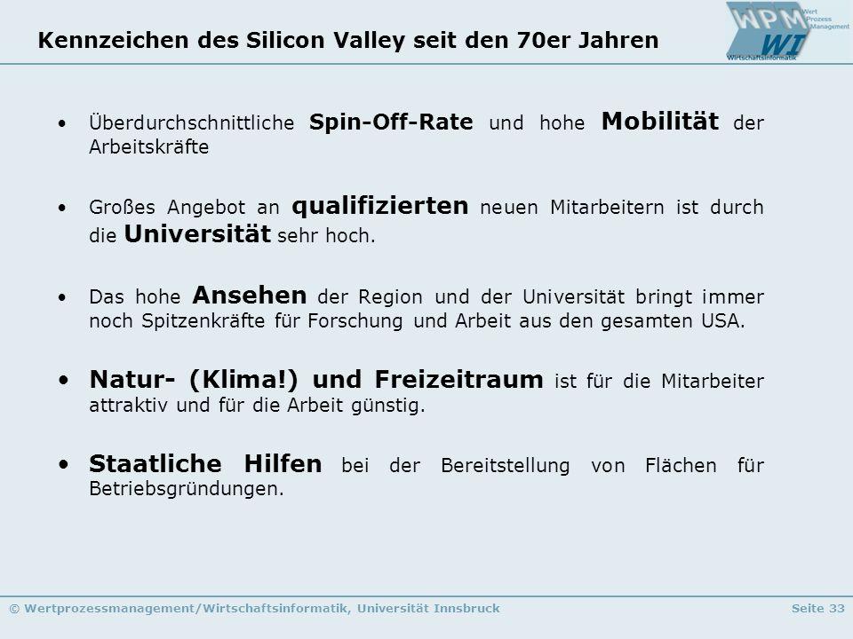 © Wertprozessmanagement/Wirtschaftsinformatik, Universität InnsbruckSeite 33 Kennzeichen des Silicon Valley seit den 70er Jahren Überdurchschnittliche