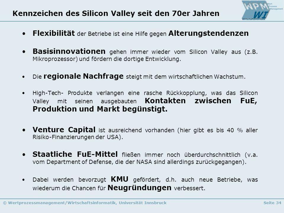 © Wertprozessmanagement/Wirtschaftsinformatik, Universität InnsbruckSeite 34 Kennzeichen des Silicon Valley seit den 70er Jahren Flexibilität der Betr