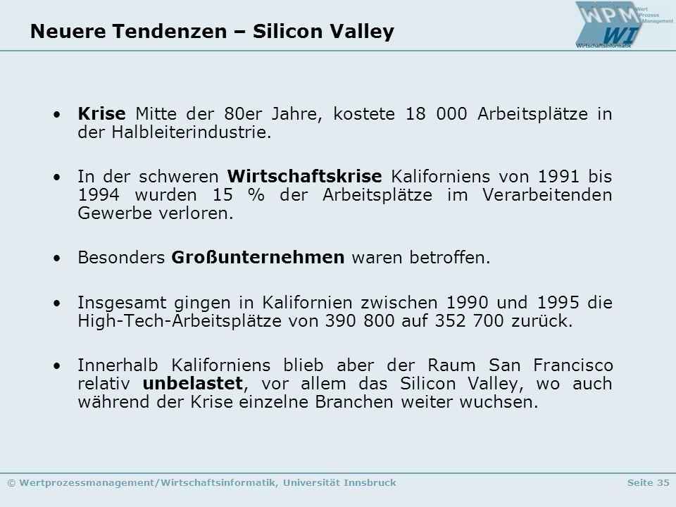 © Wertprozessmanagement/Wirtschaftsinformatik, Universität InnsbruckSeite 35 Neuere Tendenzen – Silicon Valley Krise Mitte der 80er Jahre, kostete 18