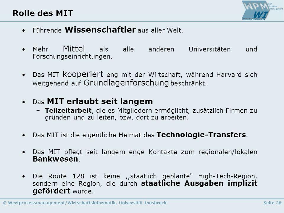 © Wertprozessmanagement/Wirtschaftsinformatik, Universität InnsbruckSeite 38 Rolle des MIT Führende Wissenschaftler aus aller Welt. Mehr Mittel als al