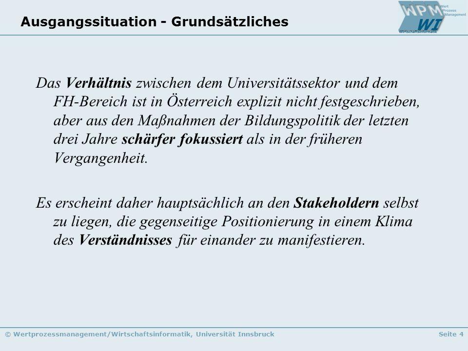 © Wertprozessmanagement/Wirtschaftsinformatik, Universität InnsbruckSeite 4 Ausgangssituation - Grundsätzliches Das Verhältnis zwischen dem Universitä