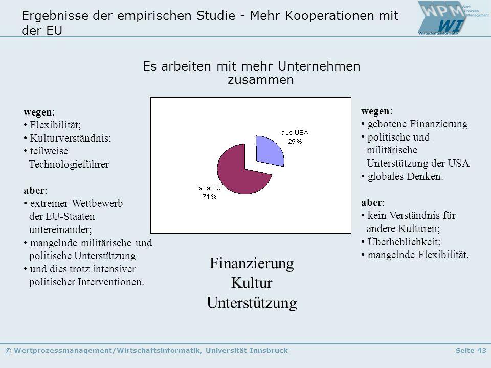 © Wertprozessmanagement/Wirtschaftsinformatik, Universität InnsbruckSeite 43 Ergebnisse der empirischen Studie - Mehr Kooperationen mit der EU Es arbe