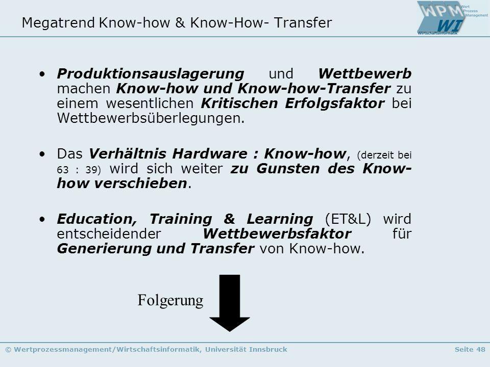 © Wertprozessmanagement/Wirtschaftsinformatik, Universität InnsbruckSeite 48 Megatrend Know-how & Know-How- Transfer Produktionsauslagerung und Wettbe