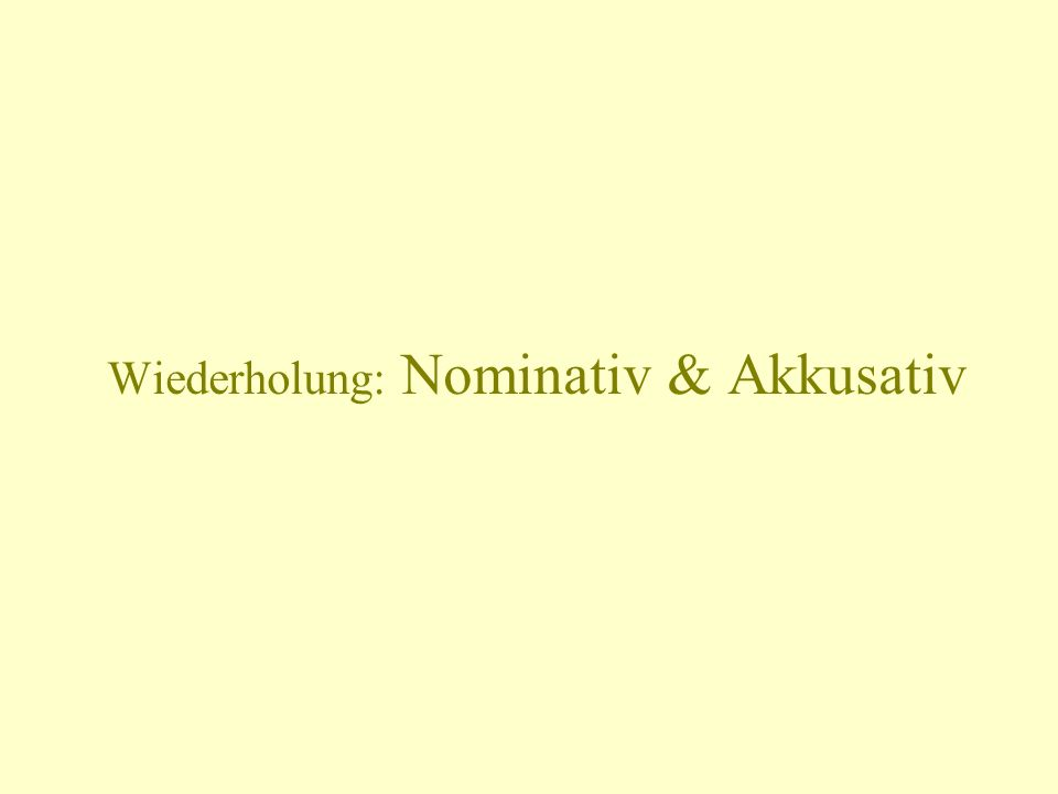 Der Nominativ for the subject of a sentence: Who or what is doing the action described by the verb.