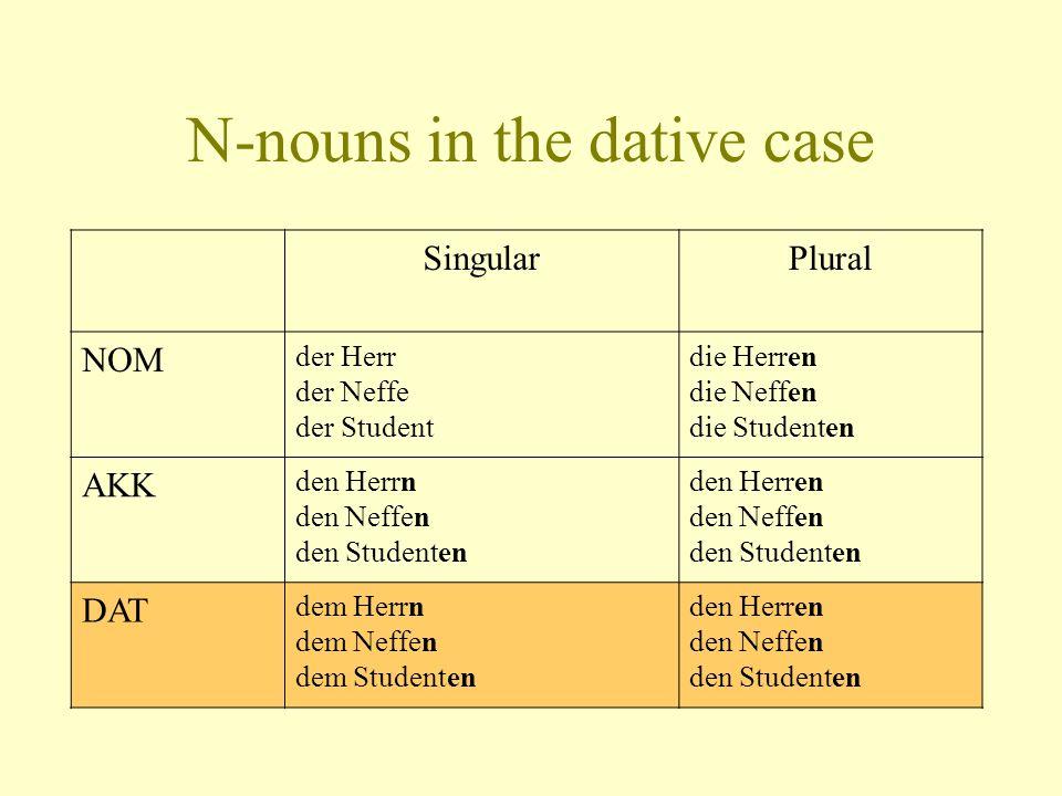 N-nouns in the dative case SingularPlural NOM der Herr der Neffe der Student die Herren die Neffen die Studenten AKK den Herrn den Neffen den Studente
