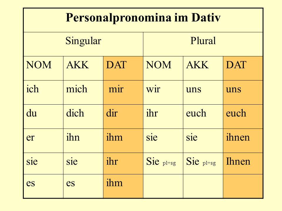 Personalpronomina im Dativ SingularPlural NOMAKKDATNOMAKKDAT ichmich mirwiruns dudichdirihreuch erihnihmsie ihnen sie ihrSie pl+sg Ihnen es ihm