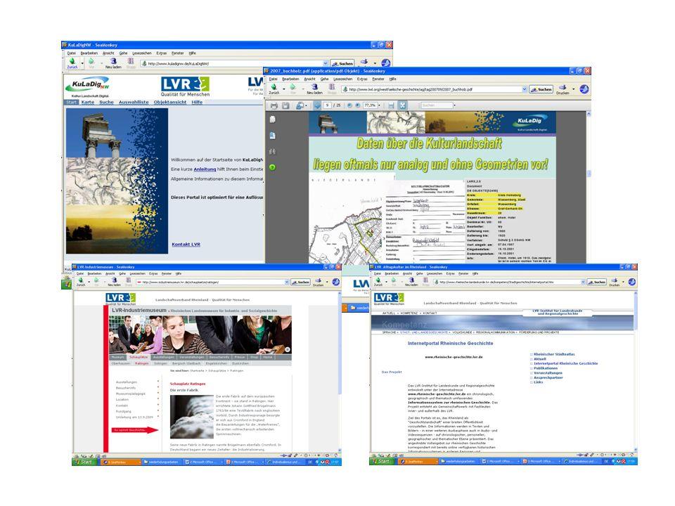 Beteiligte Projekte KuLaDigNW, BODEON, LVR-Industriemuseum, Portal Rheinische Geschichte Anforderungen inhaltlich-systematische Strukturierung der Begriffsinhalte hierarchische Gliederung der Inhaltsgruppen Abbildung der Inhaltsgruppen mittels einer sog.