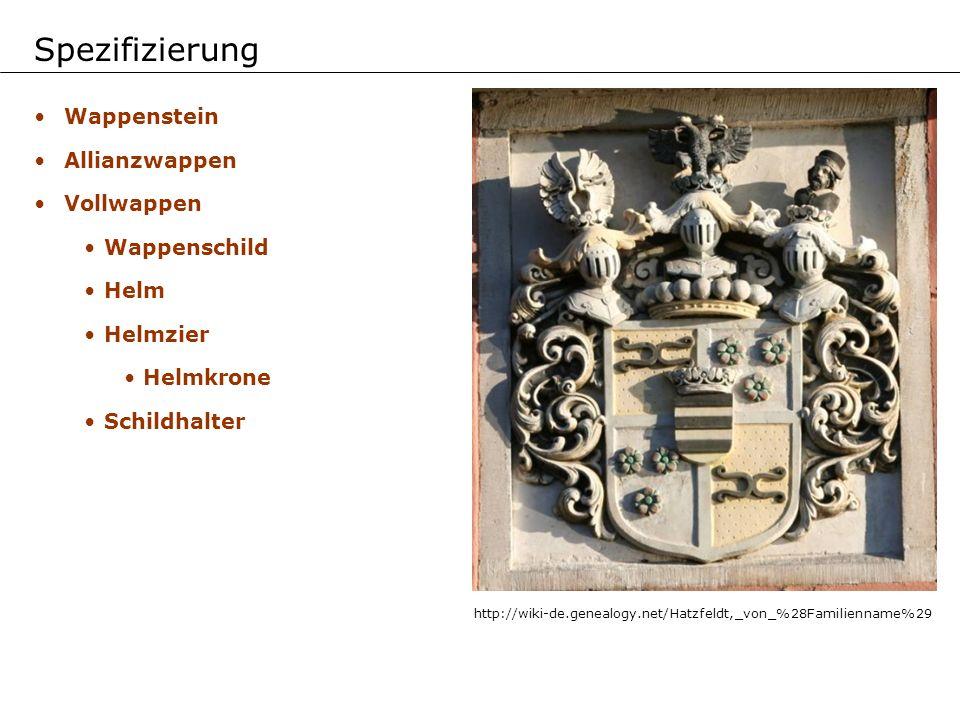 Wappenstein Allianzwappen Vollwappen Wappenschild Helm Helmzier Helmkrone Schildhalter Spezifizierung http://wiki-de.genealogy.net/Hatzfeldt,_von_%28F