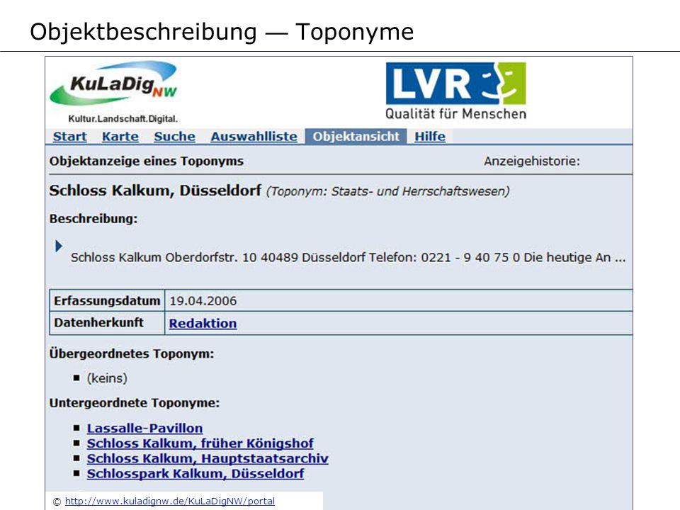 © http://www.kuladignw.de/KuLaDigNW/portalhttp://www.kuladignw.de/KuLaDigNW/portal Objektbeschreibung Toponyme