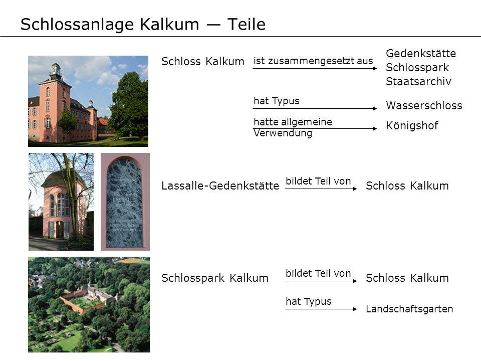 Lassalle-Gedenkstätte bildet Teil von Schloss Kalkum Gedenkstätte Schlosspark Staatsarchiv Schlosspark Kalkum bildet Teil von Schloss Kalkum hat Typus