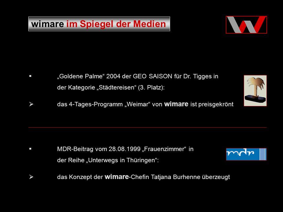 wimare im Spiegel der Medien Goldene Palme 2004 der GEO SAISON für Dr.