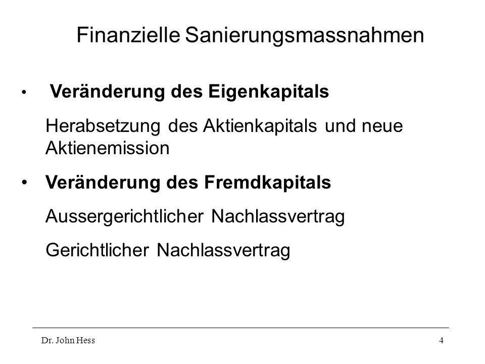 Dr. John Hess4 Finanzielle Sanierungsmassnahmen Veränderung des Eigenkapitals Herabsetzung des Aktienkapitals und neue Aktienemission Veränderung des