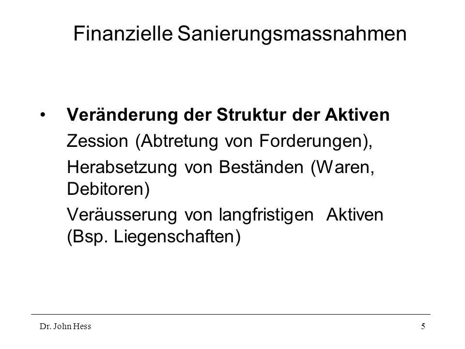 Dr. John Hess5 Finanzielle Sanierungsmassnahmen Veränderung der Struktur der Aktiven Zession (Abtretung von Forderungen), Herabsetzung von Beständen (