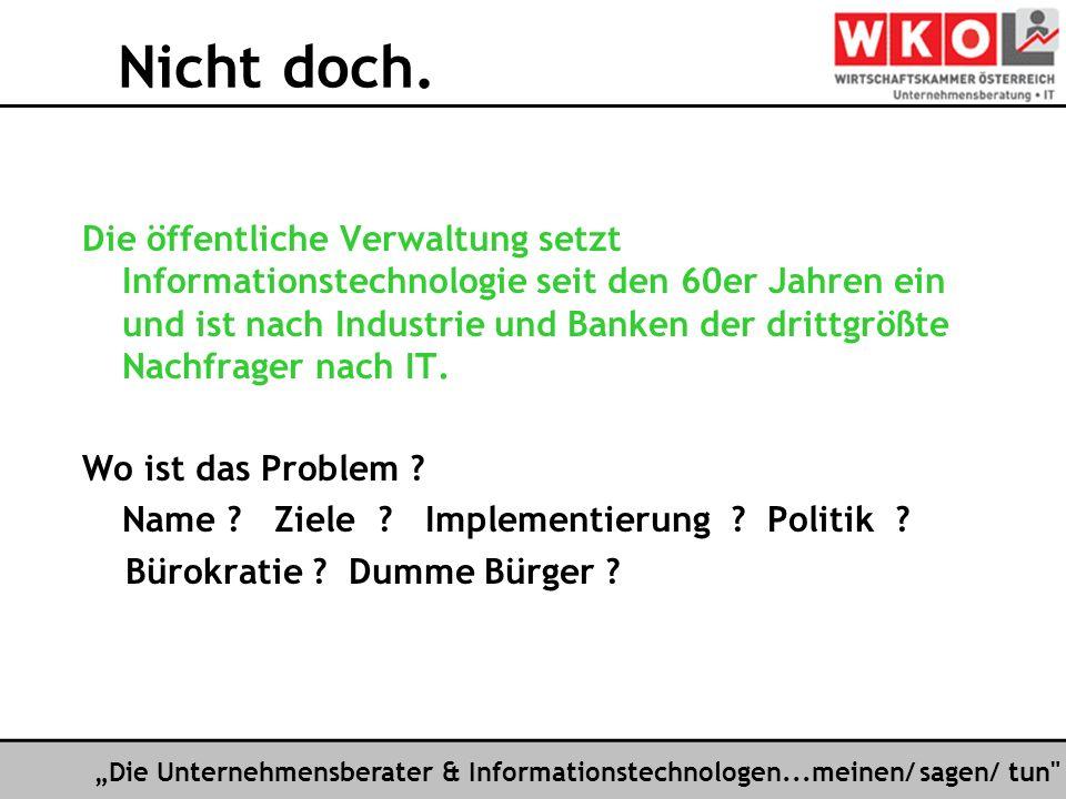 Die Unternehmensberater & Informationstechnologen...meinen/ sagen/ tun Späte Einsicht .