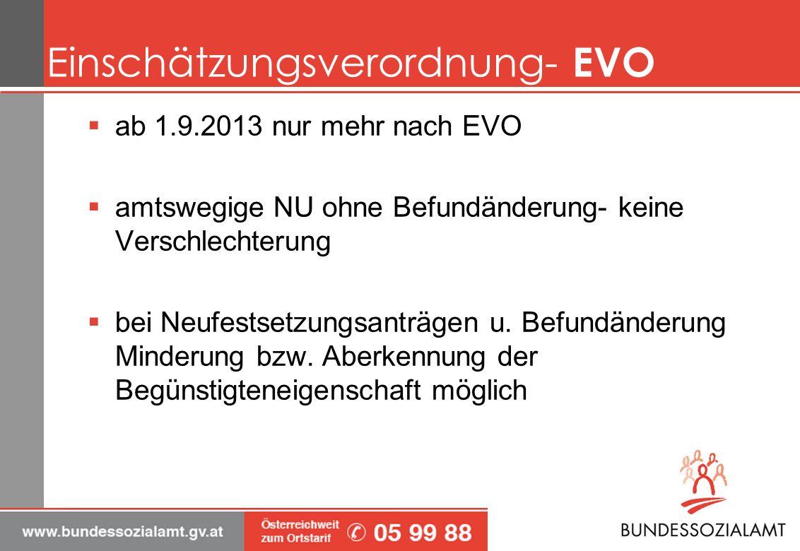 Einschätzungsverordnung- EVO ab 1.9.2013 nur mehr nach EVO amtswegige NU ohne Befundänderung- keine Verschlechterung bei Neufestsetzungsanträgen u. Be