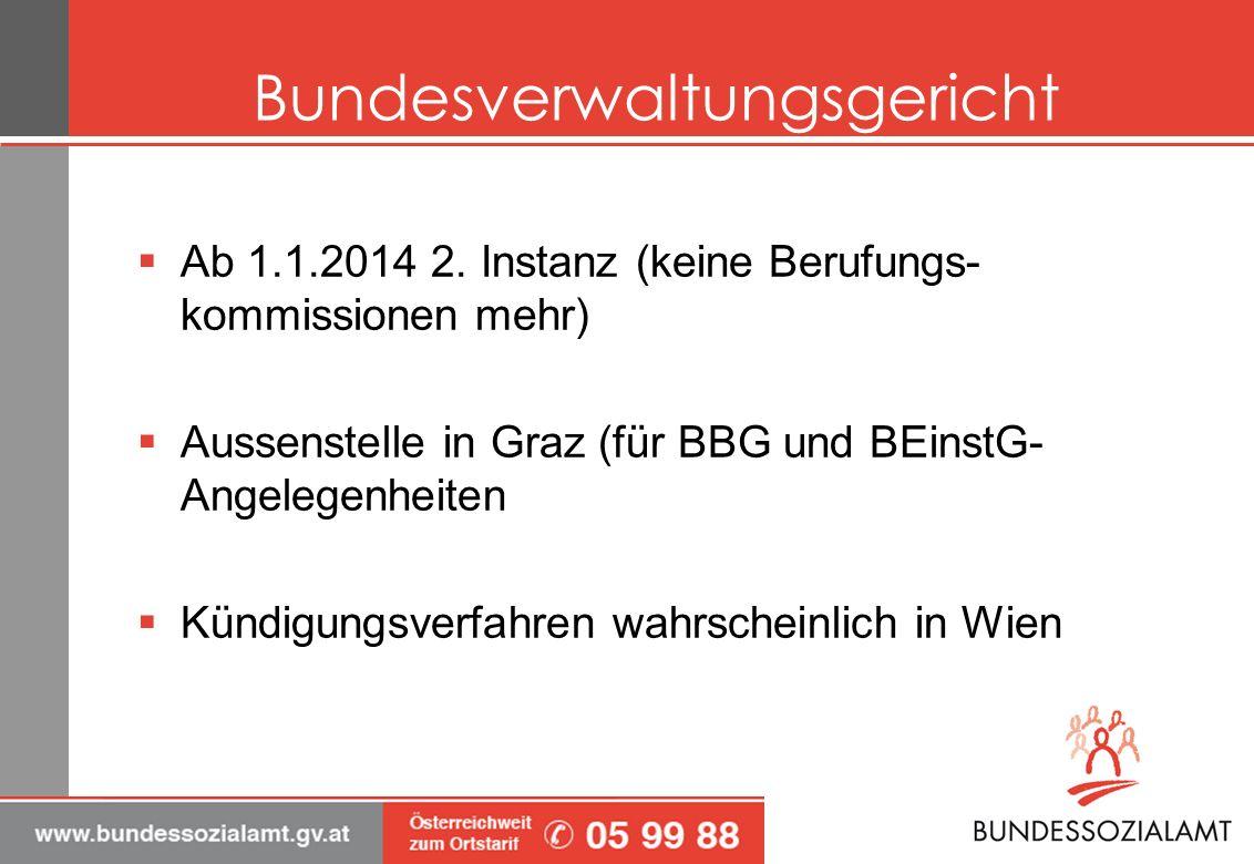 Bundesverwaltungsgericht Ab 1.1.2014 2. Instanz (keine Berufungs- kommissionen mehr) Aussenstelle in Graz (für BBG und BEinstG- Angelegenheiten Kündig