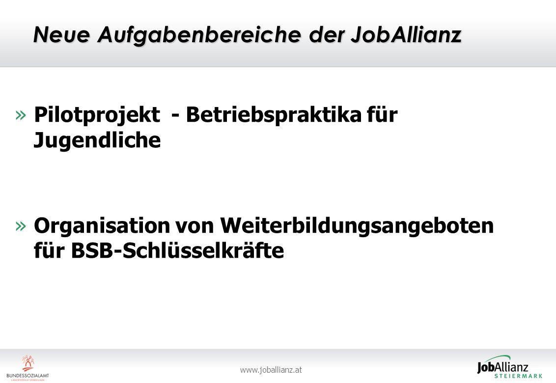 www.joballianz.at Neue Aufgabenbereiche der JobAllianz »Pilotprojekt - Betriebspraktika für Jugendliche »Organisation von Weiterbildungsangeboten für BSB-Schlüsselkräfte