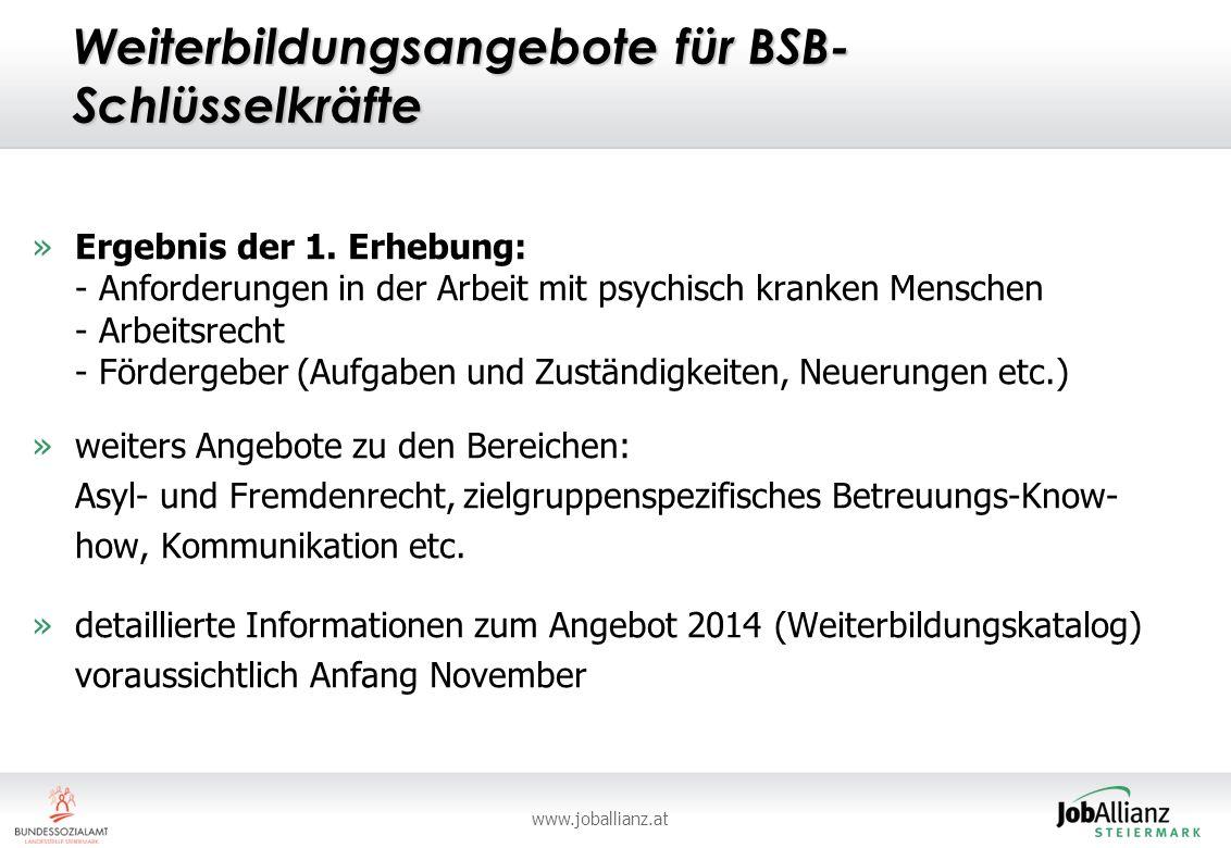 www.joballianz.at Weiterbildungsangebote für BSB- Schlüsselkräfte »Ergebnis der 1.