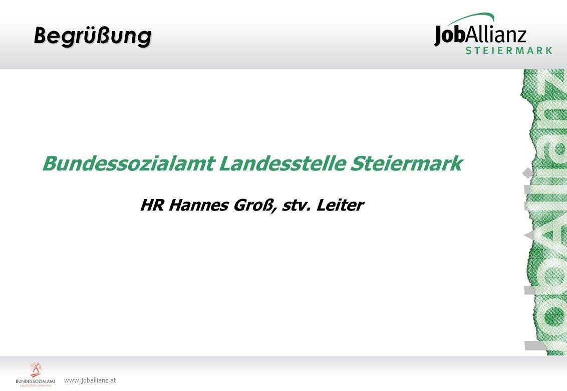 www.joballianz.at Begrüßung Bundessozialamt Landesstelle Steiermark HR Hannes Groß, stv. Leiter