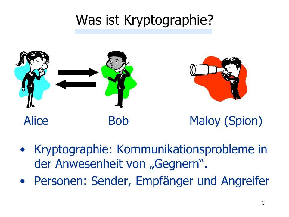 1 Was ist Kryptographie? AliceBobMaloy (Spion) Kryptographie: Kommunikationsprobleme in der Anwesenheit von Gegnern. Personen: Sender, Empfänger und A