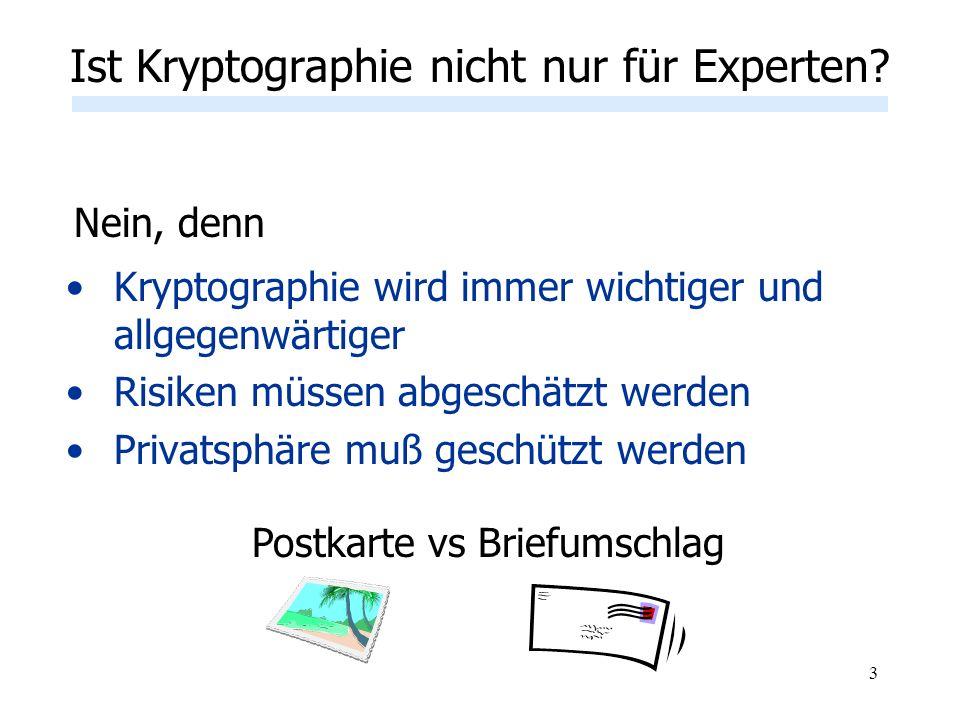 3 Ist Kryptographie nicht nur für Experten? Kryptographie wird immer wichtiger und allgegenwärtiger Risiken müssen abgeschätzt werden Privatsphäre muß