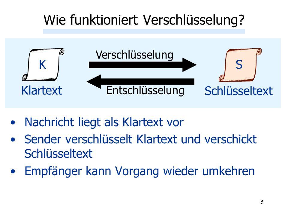 5 Nachricht liegt als Klartext vor Sender verschlüsselt Klartext und verschickt Schlüsseltext Empfänger kann Vorgang wieder umkehren Wie funktioniert