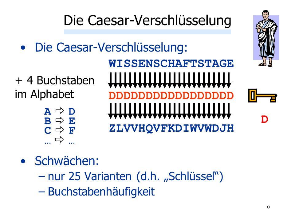 6 Die Caesar-Verschlüsselung: WISSENSCHAFTSTAGE DDDDDDDDDDDDDDDDD ZLVVHQVFKDIWVWDJH Schwächen: –nur 25 Varianten (d.h. Schlüssel) –Buchstabenhäufigkei