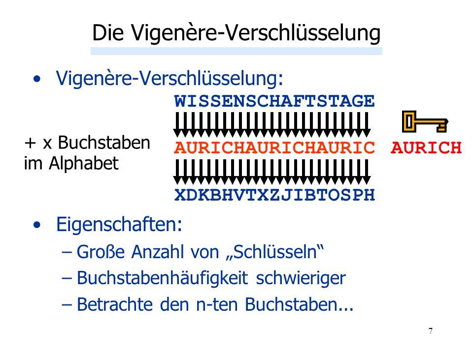 7 Vigenère-Verschlüsselung: WISSENSCHAFTSTAGE AURICHAURICHAURIC XDKBHVTXZJIBTOSPH Eigenschaften: –Große Anzahl von Schlüsseln –Buchstabenhäufigkeit sc