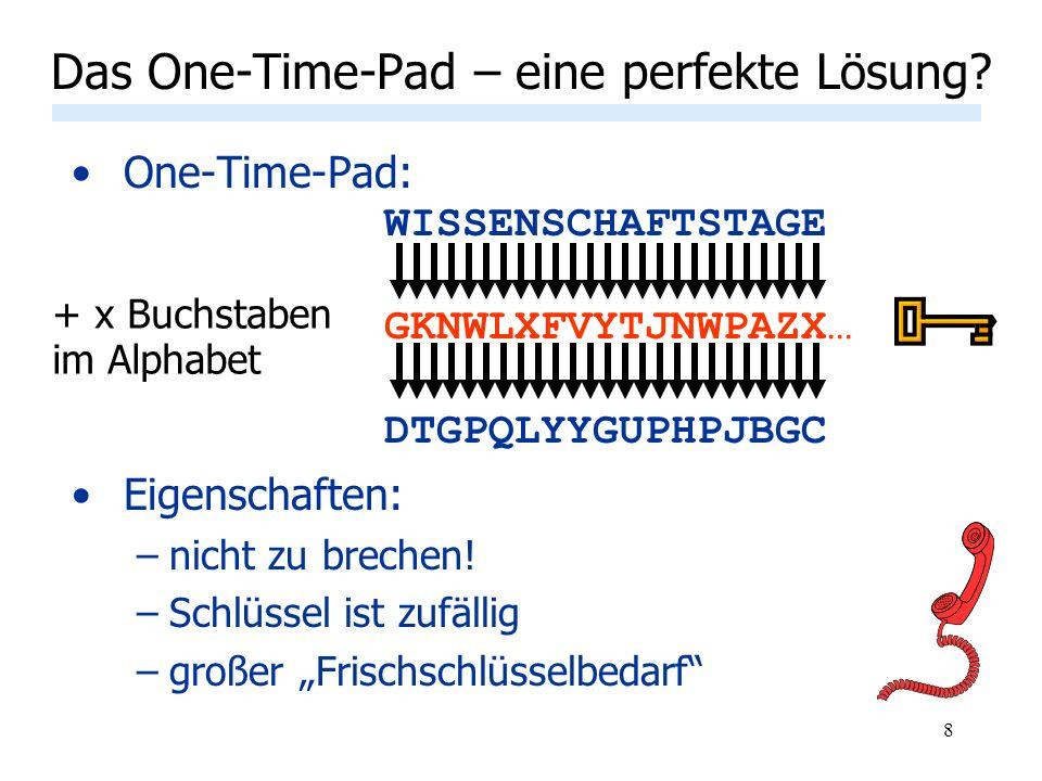 8 One-Time-Pad: WISSENSCHAFTSTAGE GKNWLXFVYTJNWPAZX… DTGPQLYYGUPHPJBGC Eigenschaften: –nicht zu brechen! –Schlüssel ist zufällig –großer Frischschlüss