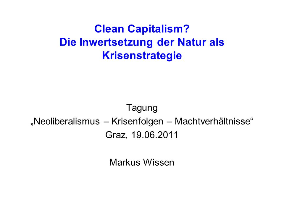 Clean Capitalism.