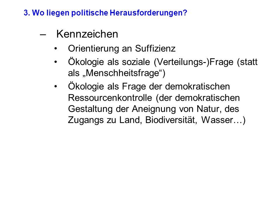 3. Wo liegen politische Herausforderungen.