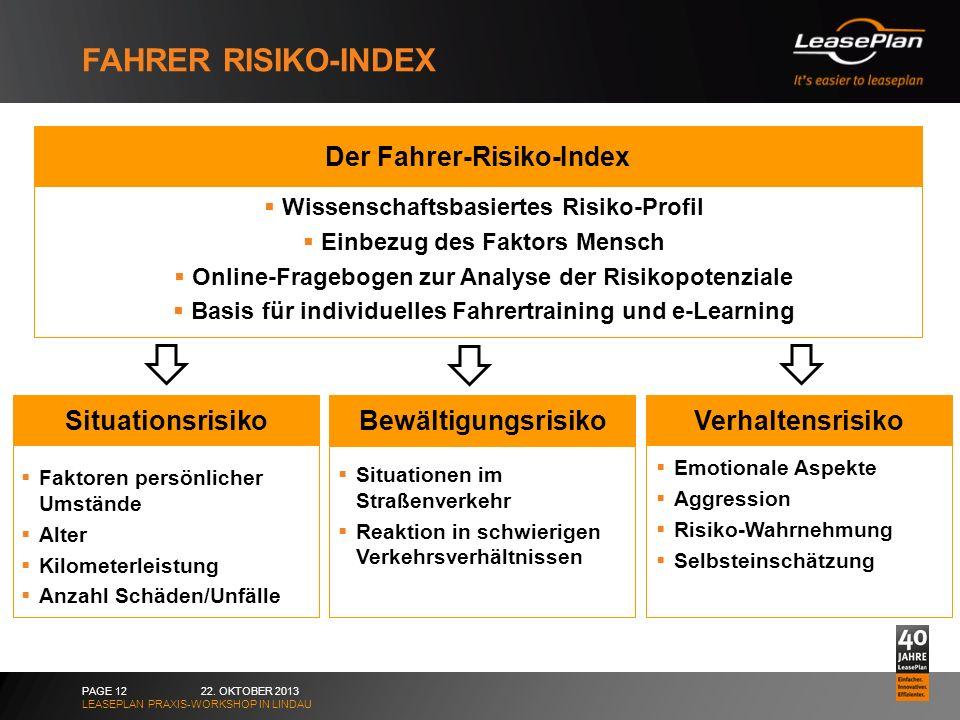 FAHRER RISIKO-INDEX 22. OKTOBER 2013 LEASEPLAN PRAXIS-WORKSHOP IN LINDAU PAGE 12 Verhaltensrisiko Emotionale Aspekte Aggression Risiko-Wahrnehmung Sel
