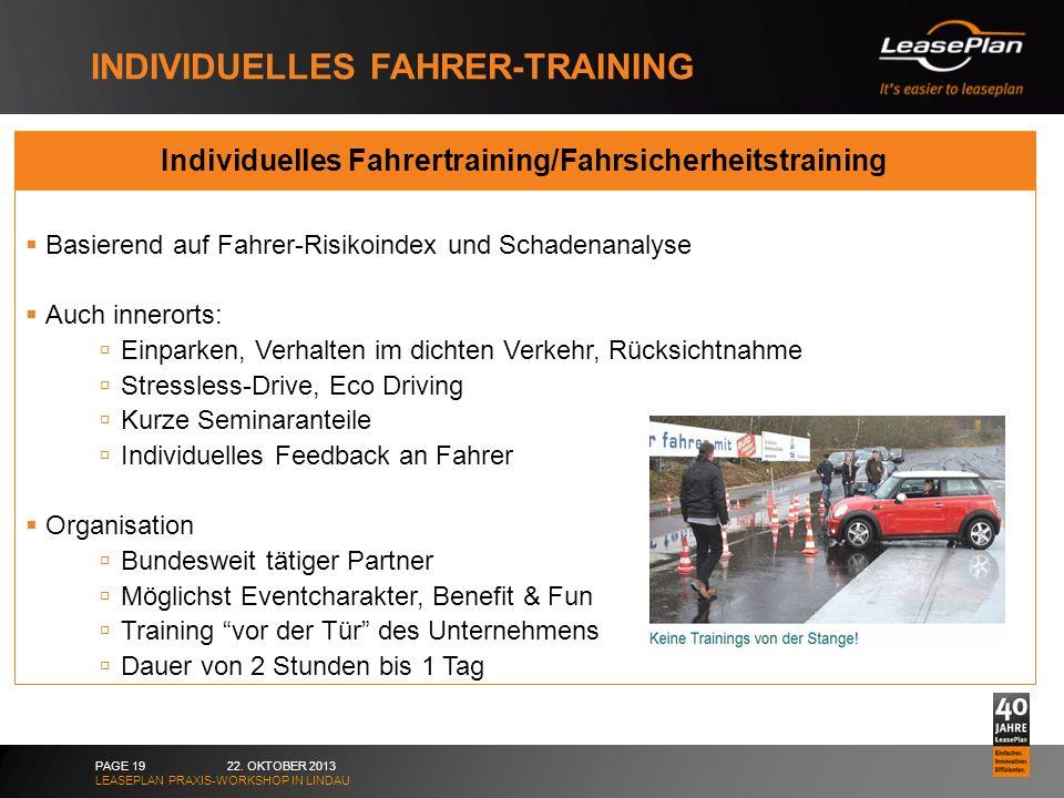 INDIVIDUELLES FAHRER-TRAINING 22. OKTOBER 2013 LEASEPLAN PRAXIS-WORKSHOP IN LINDAU PAGE 19 Individuelles Fahrertraining/Fahrsicherheitstraining Basier
