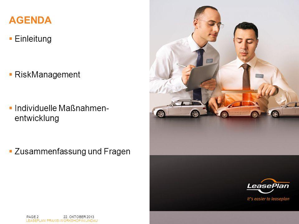 AGENDA 22. OKTOBER 2013 LEASEPLAN PRAXIS-WORKSHOP IN LINDAU PAGE 2 Einleitung RiskManagement Individuelle Maßnahmen- entwicklung Zusammenfassung und F