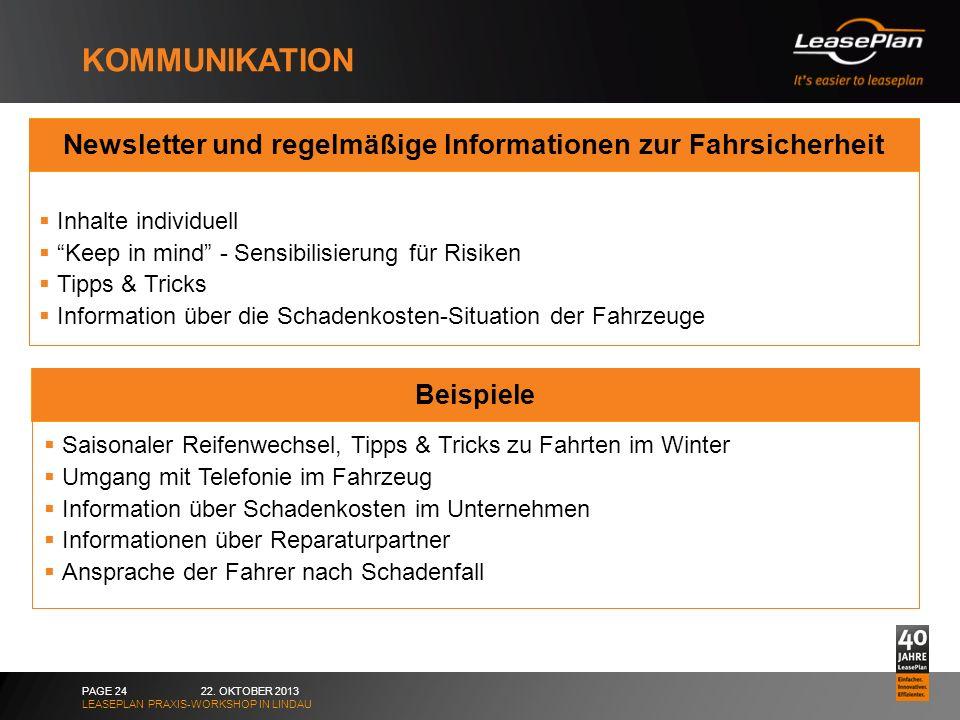 KOMMUNIKATION 22. OKTOBER 2013 LEASEPLAN PRAXIS-WORKSHOP IN LINDAU PAGE 24 Newsletter und regelmäßige Informationen zur Fahrsicherheit Inhalte individ