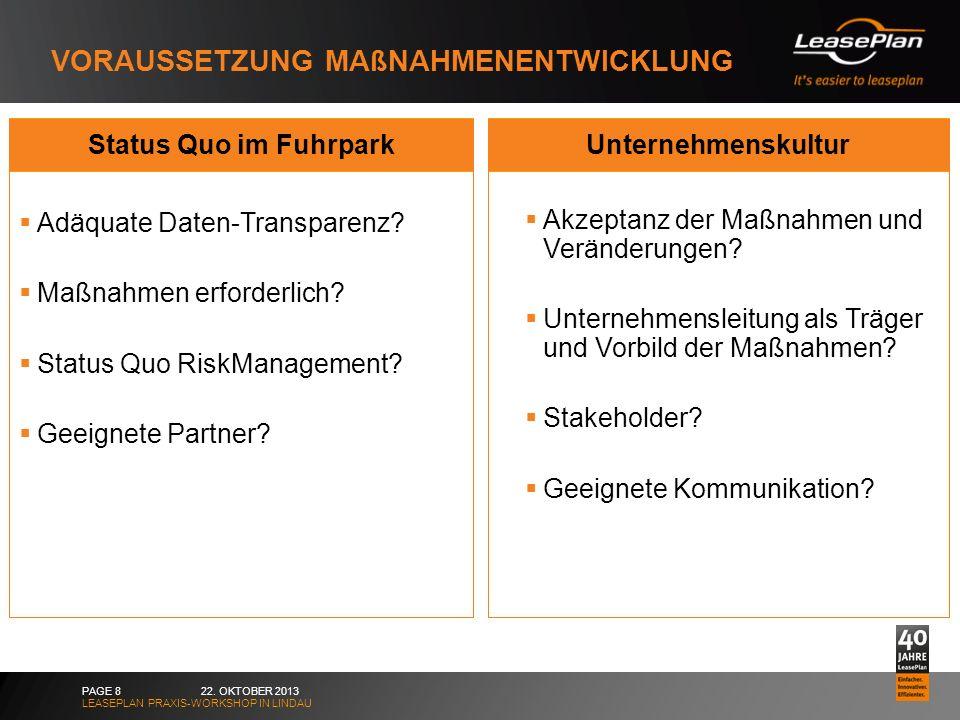 VORAUSSETZUNG MAßNAHMENENTWICKLUNG 22. OKTOBER 2013 LEASEPLAN PRAXIS-WORKSHOP IN LINDAU PAGE 8 Status Quo im Fuhrpark Adäquate Daten-Transparenz? Maßn