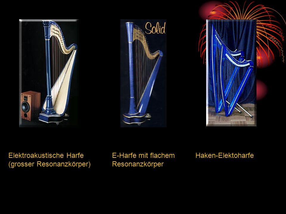 Elektroakustische Harfe (grosser Resonanzkörper) E-Harfe mit flachem Resonanzkörper Haken-Elektoharfe